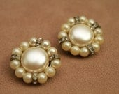 Vintage Clip Earrings -  1950s Big Clip On - Pearl And Rhinestones