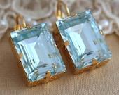 Aquamarine Crystal earrings, Dangle Drop Swarovski Gold Drop earrings,  Emerald cut Swarovski earrings, Gift for woman, Bridal jewelry