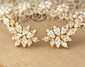 Bridal earrings,Swarovski White Crystal Climbing earrings,Bridal Cluster Earrings,Swarovski Bridal earrings,White Crystal Vintage Earrings