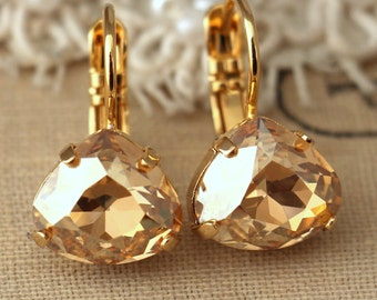 Topaz champagne gold drop earrings, Topaz light topaz crystal Swarovski earrings, Bridal droplet earrings, dangle earring, gift for woman
