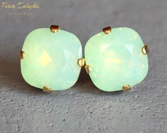 Mint earrings.Mint Opal Stud Earrings,Mint Swarovski Stud Earrings Rounded Square Crystal Earrings, Bridesmaid Earrings,gift for her