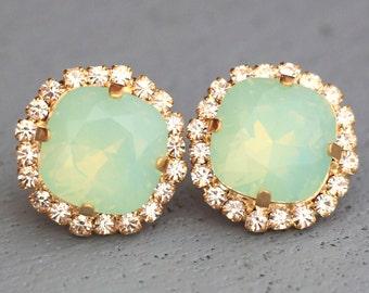 Mint Opal Earrings, Mint Green Stud Earrings,Swarovski Earrings,Christmas Gift, Gift For Her,Bridal Earrings Bridesmaids Earring Gifts