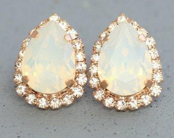 White Opal Swarovski Studs,Opal Stud Earrings,Opal Teardrop Earrings,Bridal Earrings,Swarovski Stud Earrings,Rose Gold Bridesmaids Earrings