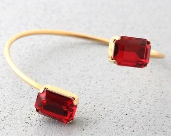 Ruby Crystal Bracelet,Swarovski Bracelet,Gift for her,Ruby Crystal Elegant Crystal Bracelet,Red Ruby Minimalist Bracelet,Ruby Jewelry