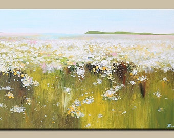 Art painting, Acrylic Painting- Abstract Landscape- Original painting-t Contemporary White Flowers Landscape,flower painting