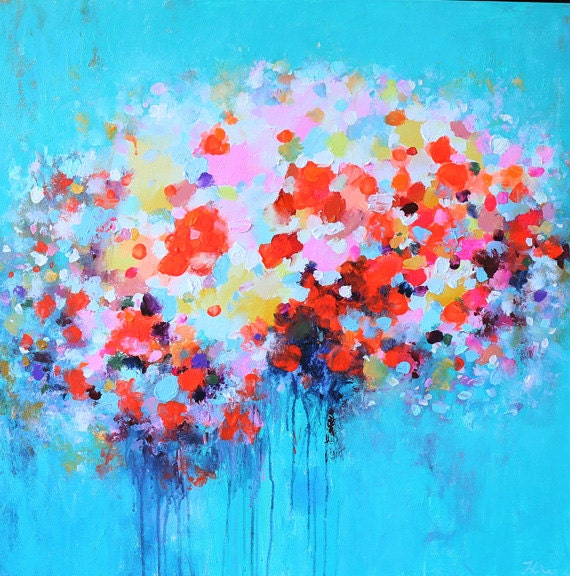 Original abstract painting abstract art acrylic abstract for Bright flower painting