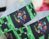 7/8 Inch Minecraft Creeper Grosgrain Ribbon for gift wrap, hair bows, hair clips, hair accessories, scrapbooking, cheer