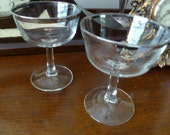 Vintage Silver Rimmed Cocktail Glasses, Mid century Martini Glasses, Wedding Toasting Glasses From France, Cocktails for Two