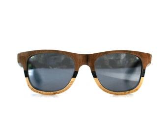 Three Tone Wood Veneer Classic Sunglasses Walnut, Ebony and Oak by Tumbleweeds Handcraft