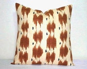 Brown and Beige Ikat 18 x 18 inch Decorative Throw Toss Pillow Cushion Cover