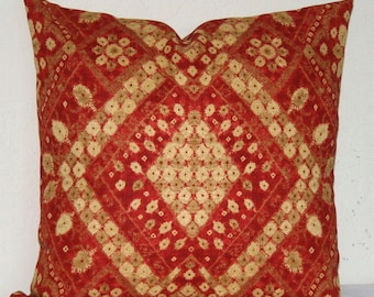 Red Medallion Decorative Pillow, 18 x 18 inch Designer Fabric, Woven Cotton Throw Pillow, Cushion Cover