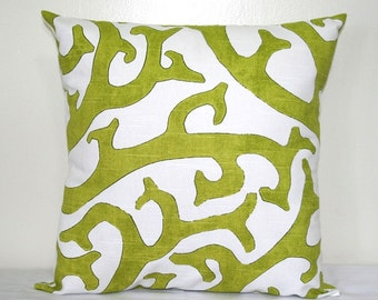 Green and White Pillow Cover, 18 x 18 inch P. Kaufmann Pillow, Geometric Accent Pillow, Cushion Cover
