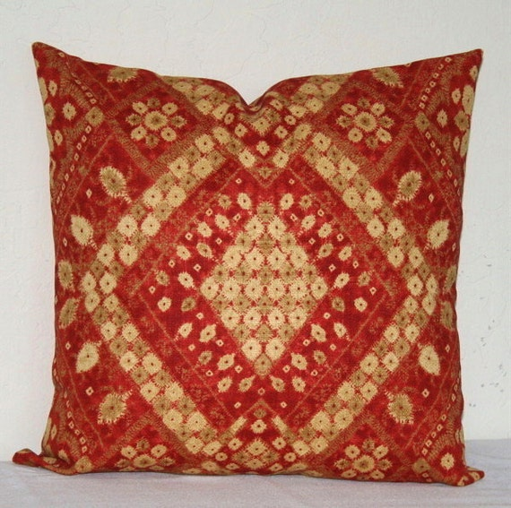 Red medallion decorative pillow 18 x 18 inch designer fabric - Fabric for throw pillows ...