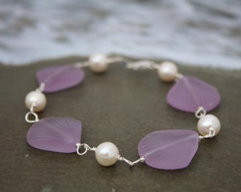 Purple Sea Glass Bracelet Sea Glass Jewelry Beach Glass Jewelry Seaglass Jewelry Beach Glass Bracelet Wedding Jewelry Bridal Bridesmaid 029