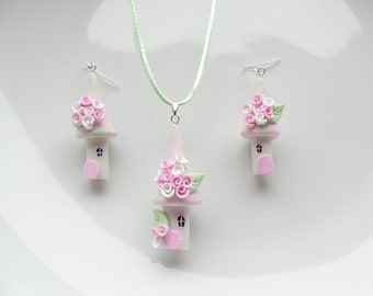 Fairy house necklace and earring set in pink and pale green handmade from polymer clay