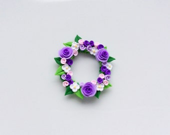 Miniature purple rose wreath handmade from polymer clay for 1:12 scale dollhouse