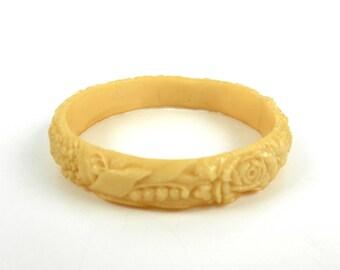 """Antique Bangle Bracelet Celluloid Flowers Ethnic Boho Fashion 1/2"""" Wide"""
