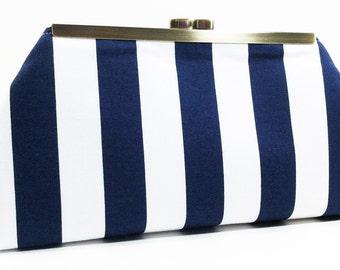 Clutch Purse - Navy White Stripe Clutch Bag Purse Nautical Beach Wedding Bridesmaid Clutch
