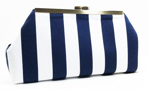 Clutch Purse Navy White Stripe Clutch Bag Purse Nautical