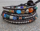 Leather Wrap Bracelet - Multicolored faceted and silver beads on leather
