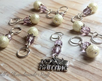 """Gifts For Knitters - """"I Love Knitting"""" Snag Free Knitting Stitch Markers- Beaded Removable Marker - Tools -Stitch Holders- Supplies"""