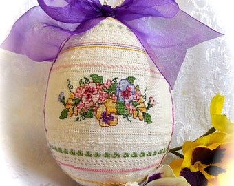 Hand embroidered Cross Stitch and Hardanger Linen Egg with Pansies