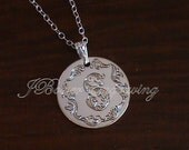 Letter S - Hand Engraved In Leaf Script With Fancy Border - Sterling Silver Intitial Pendant Necklace With Chain