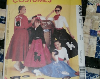 1997 McCall's Costumes Pattern 8899 Poodle Skirt and Jacket Size Small 8 - 10 Uncut