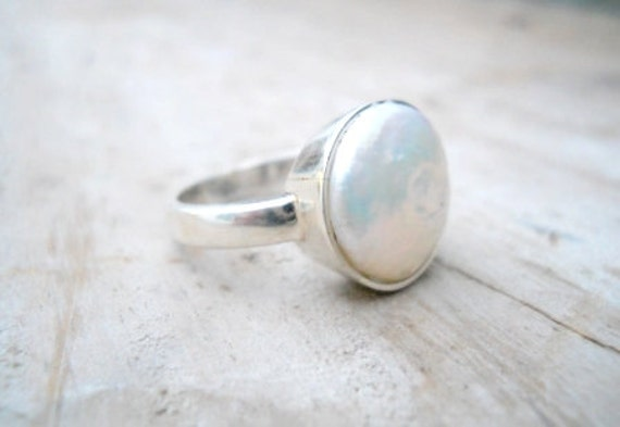 Pearl ring sterling silver freshwater pearl ring