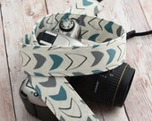 dSLR Camera Strap - Slate Blue and Grey on Off White - Modern Camera Strap dSLR
