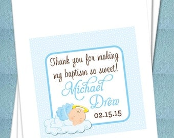 Personalized Favor Bags - Angel Baby Boy Baptism - Christening - Bautizo Favor bags, Candy Buffet, Candy Bags, Treat Bags - Set of 25