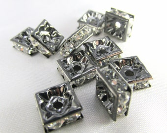 4 Square 8mm Black Gray Gunmetal and Crystal Clear Squardelle Spacer Jewelry Beads or Metal Findings