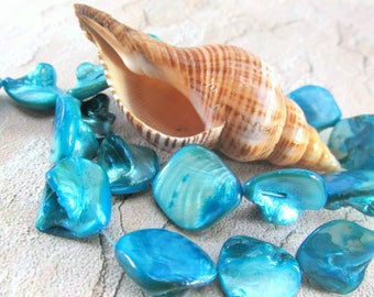 Blue Turquoise Diagonal Drilled Mother of Pearl Shell Square Nuggets Jewelry Beads