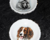 Lovely Butter Pats (2) by Artist Derick Bown - Vintage - Dogs
