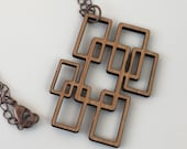 Wood Necklace, Cherry Laser Cut Geometric Necklace