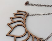 Wood Necklace, Cherry Laser Cut Lotus Necklace, Wood Jewelry, Wood Lotus Necklace, Lotus Jewelry, Antique Copper Chain