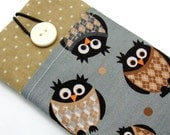 iPhone 7 sleeve a1, iPhone pouch, Samsung Galaxy S3, S4, Galaxy note, cell phone, ipod classic touch sleeve - Owls in sweaters