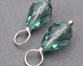 Swarovski Crystal Charms, Erinite Blue Green Swarovski Teardrop Crystal, Bead Dangles, Interchangeable Earrings Jewelry,  Add a Dangle