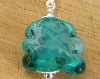 Aqua Scribble - lampwork glass pendant