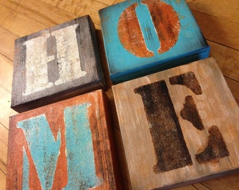 Made to order 6x6 HOME Letters ORIGINAL Handpainted on Canvas Grey Teal Brown by Federico Farias