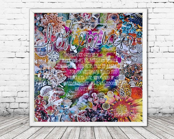 bohemian definition mixed media collage art bohemian art