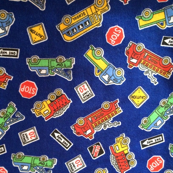 Fabric 1 1 2 yard flannel blue tow truck fire engine school for Little blue truck fabric