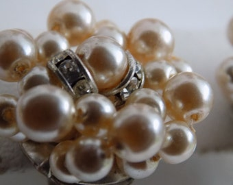 Vintage earrings, pearl and crystal cluster clip-on earrings, elegant retro jewelry