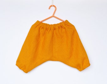 Baby Toddler Boys Girls mustard yellow natural ecofriendly 100% Linen harem pants trousers, calf length, shorts 12-18-24 months 2T 3T 4T 5 6