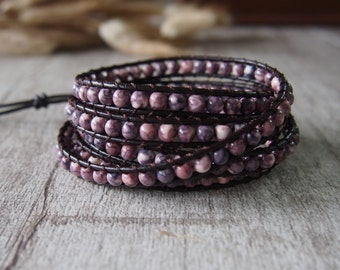 5 Wrap Bracelet RainStone Beaded Bracelet  Leather Bracelet Leather Wrap Bracelet Beaded Bracelet 10657
