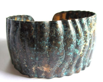 Verdigris Patina Cuff Bracelet Black Turquoise Fashion Jewelry