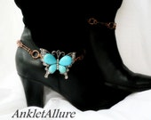 Southwestern Copper Chained Butterfly Boot Chains Turquoise Silver Boot Jewelry Cowboy Boot Bracelet