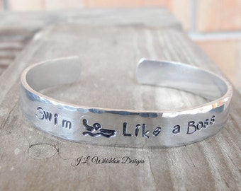 Gifts for Swimmers - Personalized Swimmer's Bracelet - Swim Like A Boss Bracelet - Like A Boss - Hand Stamped Swimmer's Bracelet