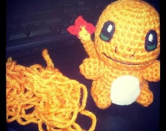 Fire Lizard Pokemon Inspired Crochet Doll - Amigurumi handmade