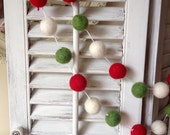 White String 10ft Garland Felt Ball Garland, Christmas Garland, Wool Pom Pom, Holiday Garland, Felt Garland, Party Decor Party Decorations